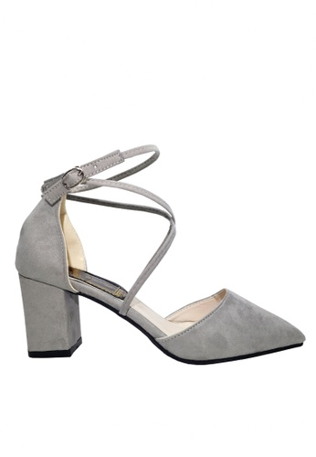 Twenty Eight Shoes 灰色 搭帶尖頭高跟鞋 VL888 E6261SHABDF169GS_1
