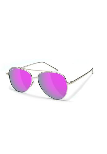 Sensolatino Eyewear grey and pink and yellow and green and blue and purple Sensolatino Series Aviatore Small With Violette Polarized Lenses 738E4GLFD1690AGS_1