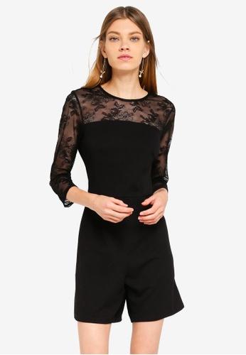 Dorothy Perkins black Mesh Sleeve Playsuit 5034CAA11801ADGS_1