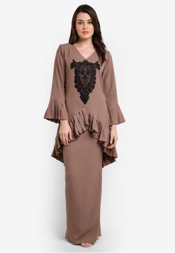 Zuco Fashion beige Pleated Lace Mini Kurung ZU882AA0RIKGMY_1