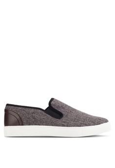 【ZALORA】 皮革拼接暗紋紡織懶人鞋