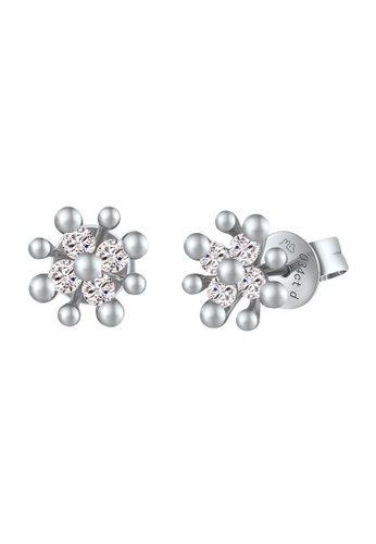 MaBelle silver 18K/750 White Color Gold Diamond Flower Earrings 1F8D8AC4F2379FGS_1
