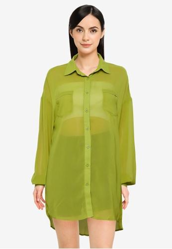 Public Desire green Oversized Shirt Dress 0197AAA6DA5BA5GS_1