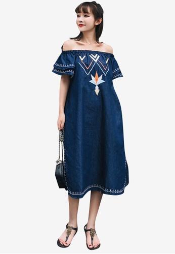 Sunnydaysweety blue Off-Shoulder Shift One Piece Dress 7860CAAA7E2606GS_1