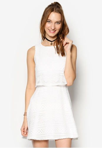 ZALORA white Love Double Layered Fit & Flare Dress 8D35CAAF5B1385GS_1