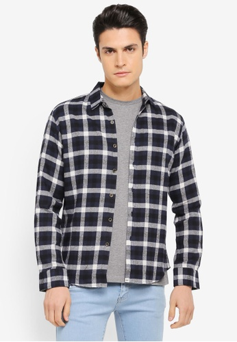 ZALORA navy Checked Flannel Long Sleeve Shirt 1CDFBAA9C538CEGS_1