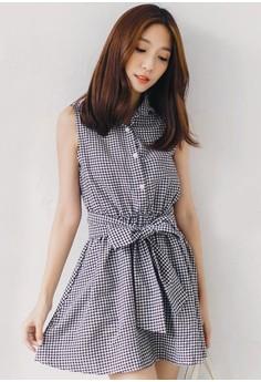 Tie Around Plaid Dress