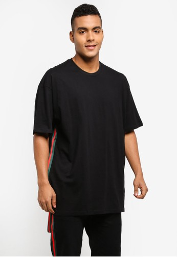 Flesh IMP black Voltages Taping Oversized T-Shirt 40213AAB0A7176GS_1