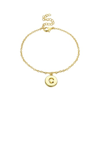 Glamorousky silver Simple Plated Gold Letter C Round Bracelet C2BBAAC26038E7GS_1