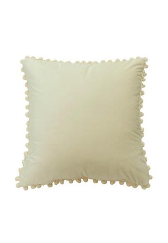 DILAS HOME Pom Pom Velvet Cushion Cover (Ivory) 43EBFHL166AEBEGS_1