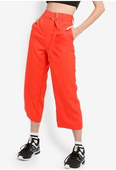 a5677614 Something Borrowed red Belted Straight Leg Trousers 6EF8FAA4712231GS_1