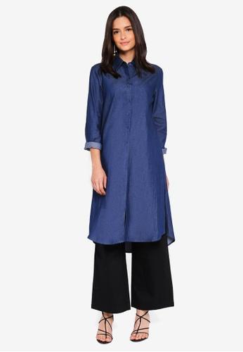 Zalia blue Longline Shirt E24B1AA80B9E9EGS_1
