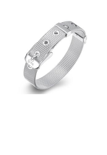Glamorousky silver Simple and Fashion 10mm Mesh Strap Geometric Bracelet 55FFAAC75B16F4GS_1