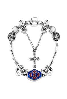 Treasure by B&D DBY001 Retro Minority Letters & Cross Pendant DIY Bracelet(Silver Pleated)