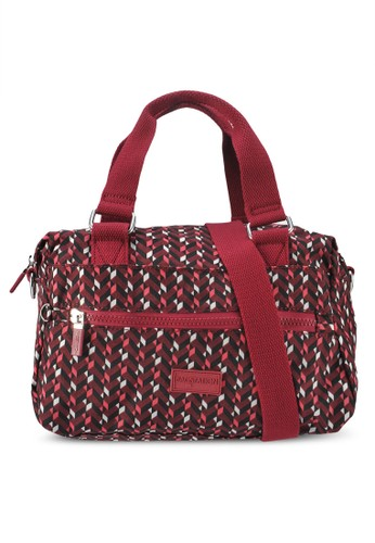 Bagstationz red Printed Crinkled Nylon Convertible Top Handle Bag 78018ACA8E6EAAGS_1