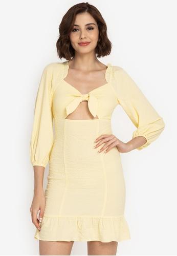 ZALORA BASICS yellow Balloon Sleeve Cut Out Dress 21A6CAA1626CA6GS_1