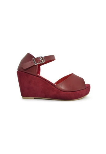 SHINE red Peep Toe Platform Wedges SH554SH0GE85SG_1