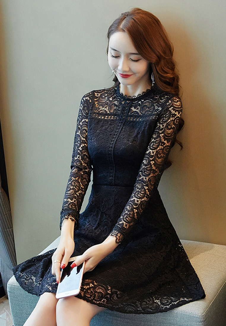 Sleeves Through Shoulder Halo Dress Lace Black See z5n8t