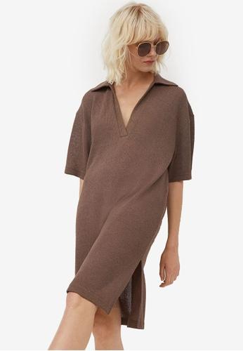 H&M brown Knitted Dress 7ADE3AAFA5F986GS_1