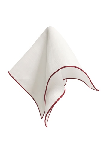 Caveman white Premium Maroon Border Pocket Square B5830AC335FE38GS_1