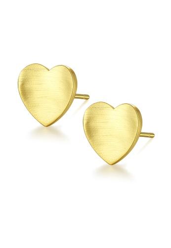 SUNRAIS gold High quality Silver S925 golden heart earrings E6E04AC46B4E24GS_1