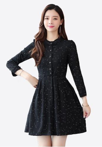 Halo black Printed Slim Dress 4CF06AAE59497FGS_1