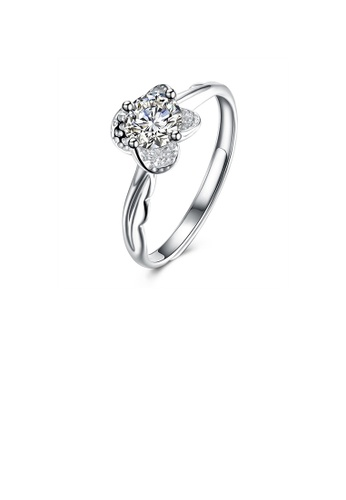 Glamorousky white 925 Sterling Silver Elegant Bright Flower Adjustable Ring with Cubic Zircon 0E17BACB3D124EGS_1