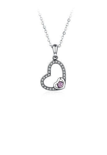 Glamorousky pink 925 Sterling Silver Simple Elegant Romantic Heart Shape Pendant Necklace with Pink Cubic Zircon Necklace with Cubic Zircon E0E92ACE33E570GS_1