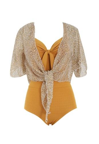 ZITIQUE yellow Women's Vintage Ribbon Deep V One-piece Swimsuit (Two-piece Set) - Yellow 8E0D6USA8A29CEGS_1