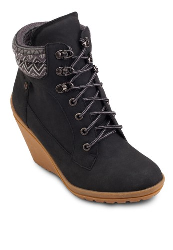 Naija 楔型跟esprit 手錶繫帶短靴, 女鞋, 鞋