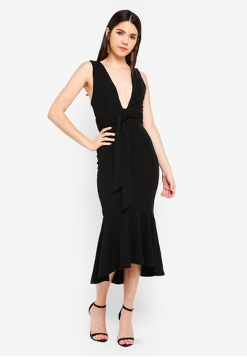 INDIKAH black Plunge Neck Mermaid Hem Midi Dress 89A23AA219016EGS_1