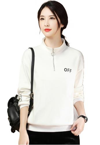 A-IN GIRLS white Simple Zipper Half High Collar Plus Fleece Sweater E3321AABB84B04GS_1