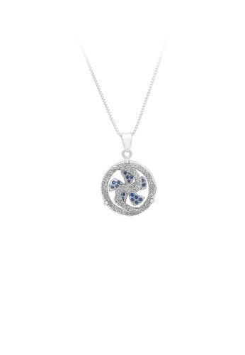 Glamorousky silver 925 Sterling Silver Windmill Pendant with Blue Cubic Zircon and Necklace 720A2ACC336454GS_1
