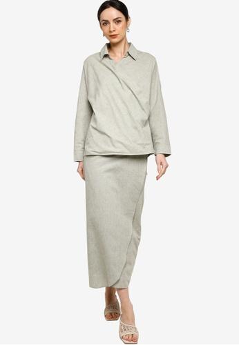 ZALIA BASICS 綠色 Collar Shirt Wrap Skirt Co-Ords Set 87375AA9C85A80GS_1