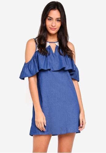 Something Borrowed blue Lace Panel Cold Shoulder Dress C3D57AAF306BBCGS_1