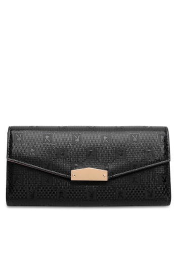 PLAYBOY BUNNY black Women's Long Purse With Coin Compartment / Wallet With Coin Compartment 04C19ACAC70E5BGS_1