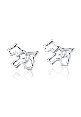 MaBelle silver 14K/585 White Color Gold Gold Hoop Doggie Dog Earrings E559BAC8F8EFB3GS_1