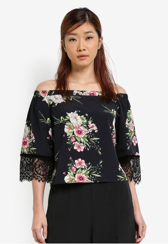 Something Borrowed black Lace Paneled Off Shoulder Top B3558AAC6353FAGS_1
