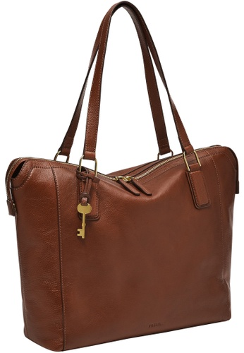 FOSSIL brown Jacqueline Tote ZB1502200 35E5FACE59787EGS_1