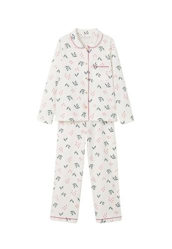 MANGO KIDS white Cotton Printed Long Pyjamas 107C2KA04CD405GS_1