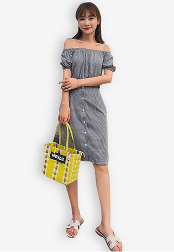 Sunnydaysweety black Check Pattern Off Shoulder Set 1FD5CAAD142DDAGS_1