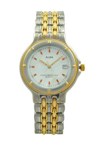 ALBA Jam Tangan Pria - Silver Gold White - Stainless Steel - ATX36M