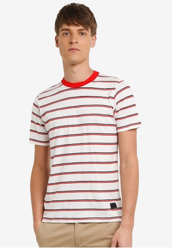 Flesh IMP white Stripple Stripe T-shirt FL064AA0RN9XMY_1