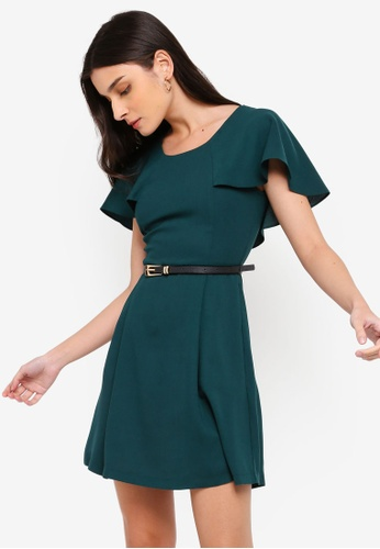 ZALORA green Capelet Fit And Flare Dress With Belt DAD43AA4CE1B64GS_1