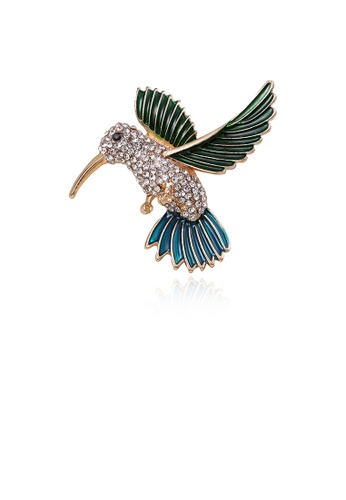 Glamorousky white Fashion Simple Plated Gold Hummingbird Brooch with Cubic Zirconia C66F4ACEAD232DGS_1
