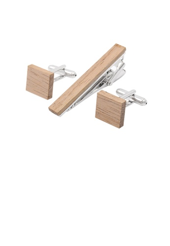 Glamorousky silver Simple and Classic Wooden Geometric Collar Clip and Cufflinks Set C0584ACCCFB3FBGS_1