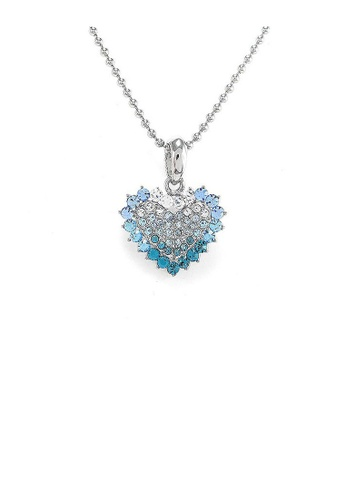 Glamorousky silver Heart Pendant with Blue Austrian Element Crystals and Necklace E6A78AC8B55074GS_1
