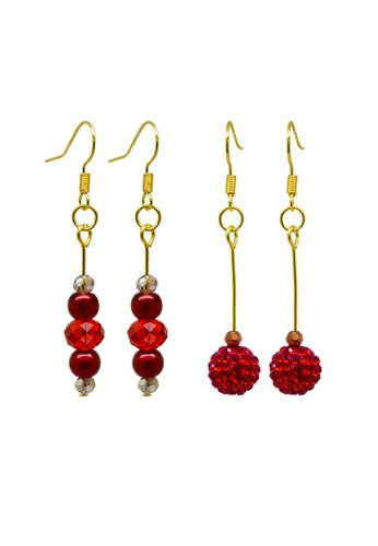 Fur Nyce red Auspicious Red Earrings Set CDDCCACFA83D72GS_1