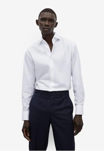MANGO Man 白色 標準剪裁襯衫 2D215AA5D72BE4GS_1