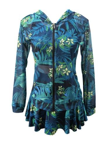 ZITIQUE green 3Pcs - Print Bikini Set With Cover-Up 89C65US48DDCC8GS_1